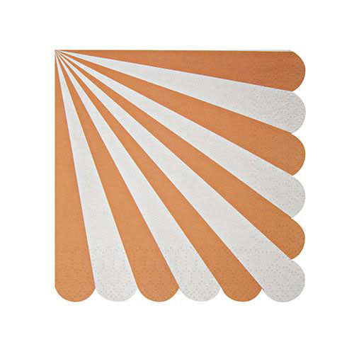 orange napkins designed with white stripes and a scalloped edge