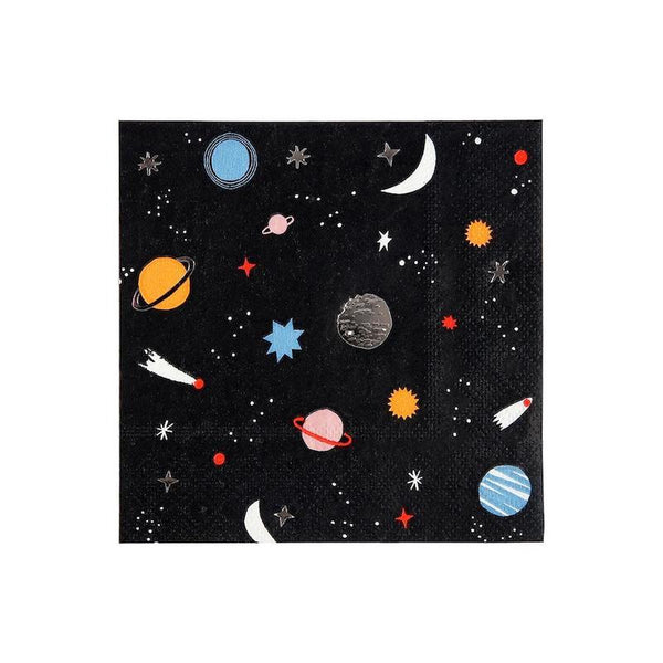 black and silver astronaut party napkins