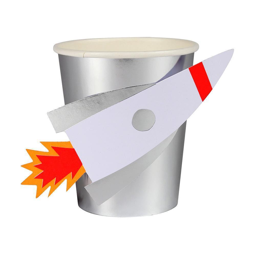 silver foil rocket ship cups
