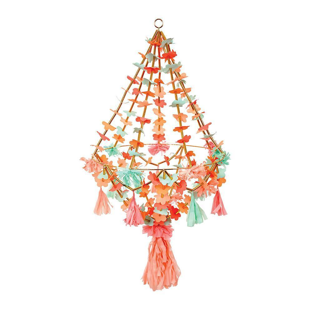 colorful hanging flower chandelier