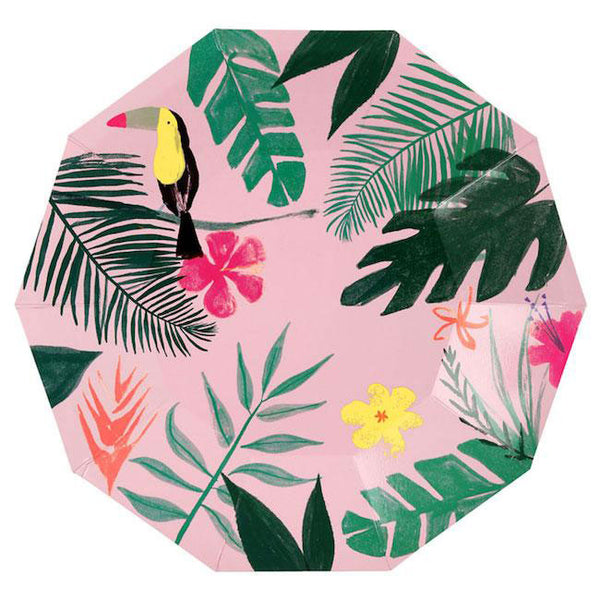 pink tropical plates with toucans and monstera leaves