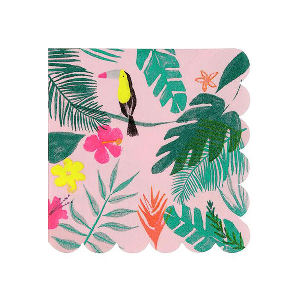 pink and green tropical napkin against white background