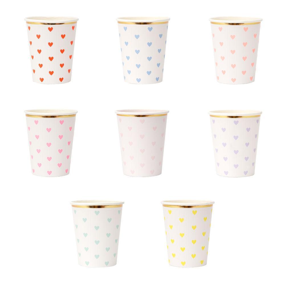 heart cups in an assortment of pastel colors