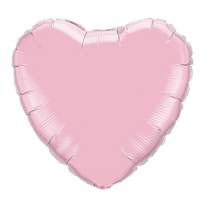 Pearl Pink Heart Balloon blown up with helium