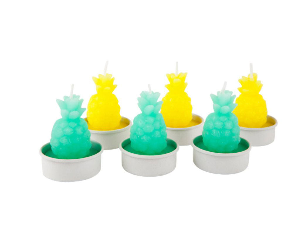 yellow and green pineapple tea light candles
