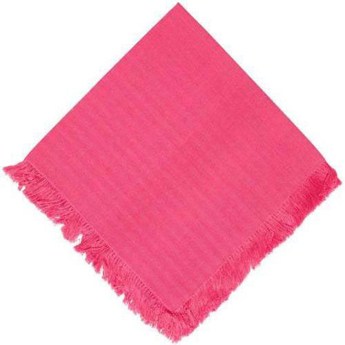 handwoven pink dinner napkin with fringe