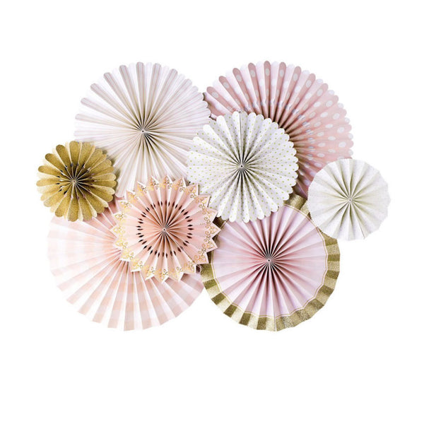 pink paper fans with a hint of gold