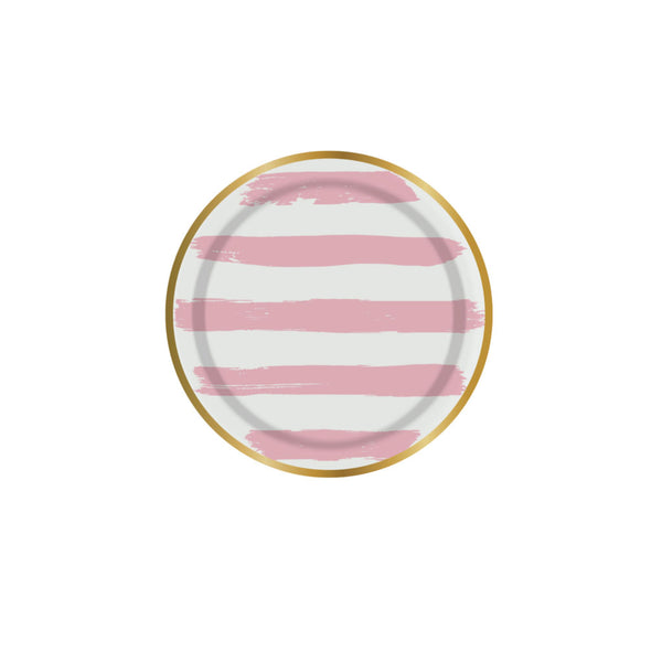 mini pink plates with white stripes and a gold rim
