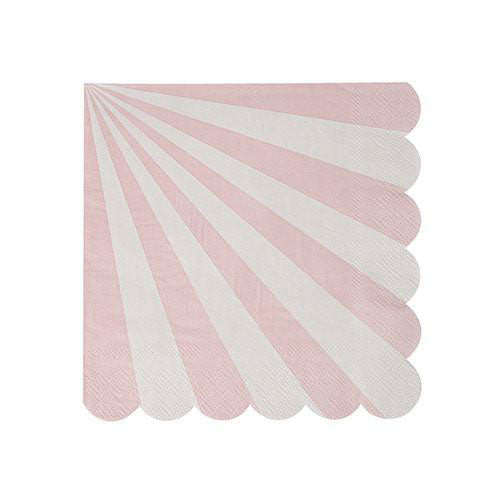 pink napkins with white striped and a scalloped edge