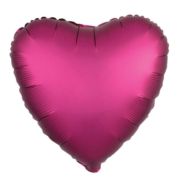 Pomegranate Satin Heart Balloon filled with helium