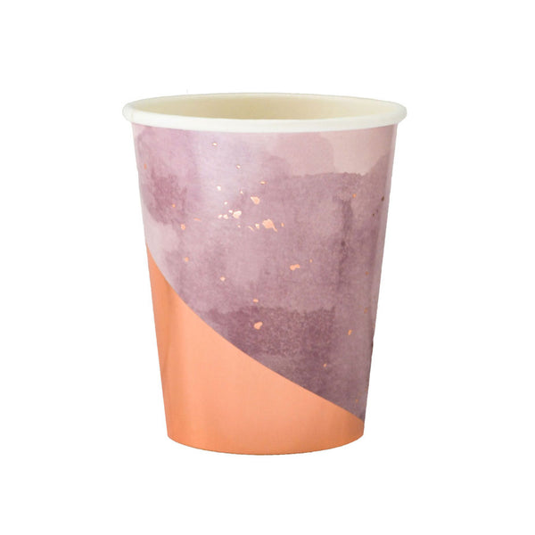 lavender cups with rose gold detailing