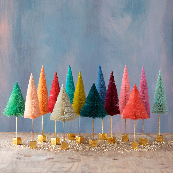 Rainbow Bottle Brush Trees with a Gold Base