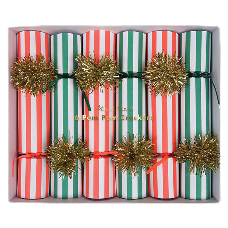 box of red, green and gold holiday party crackers