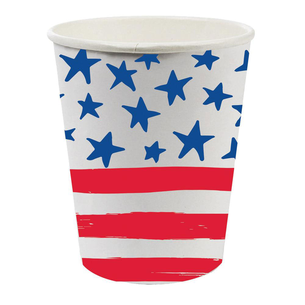Red, white, and blue cups with stars and stripes