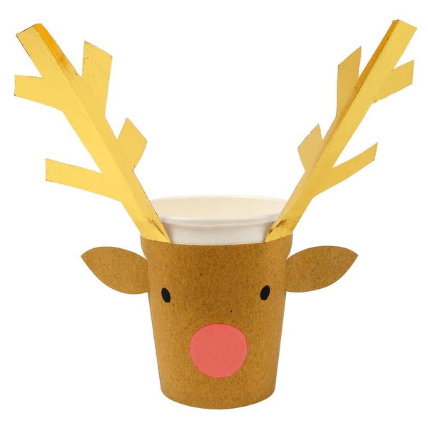 reindeer cups made out of paper with cute reindeer sleeves