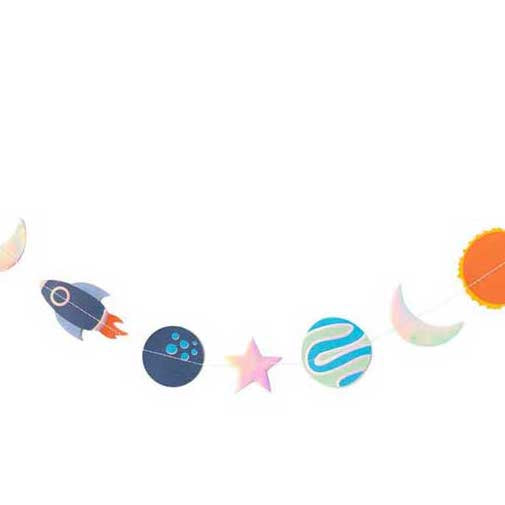 space banner with rockets and planets