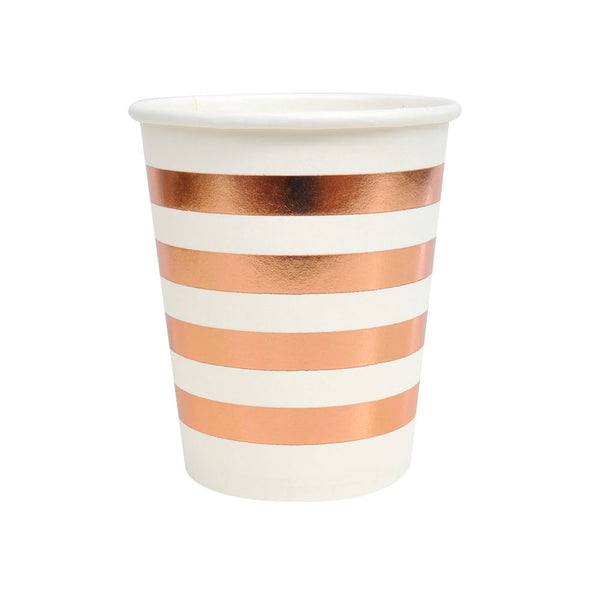 rose gold and white striped cups
