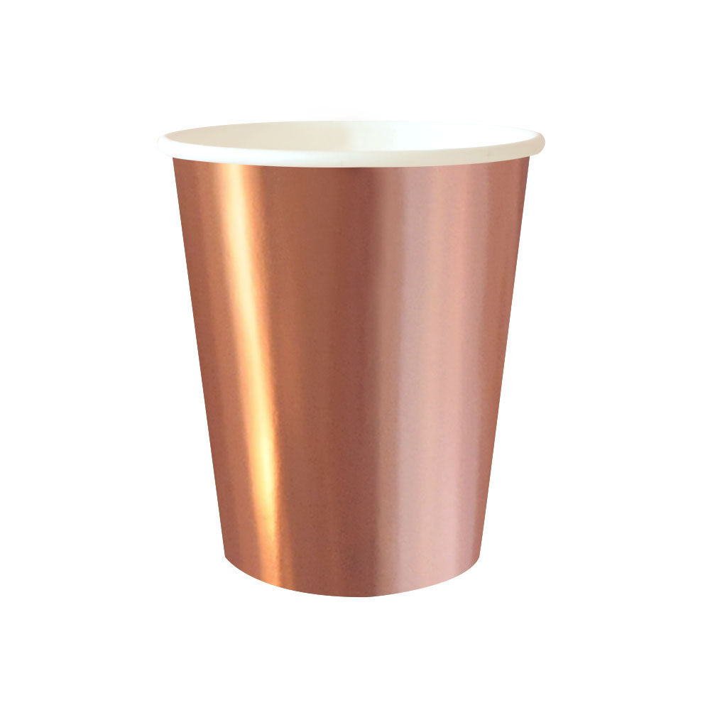shimmering rose gold cups