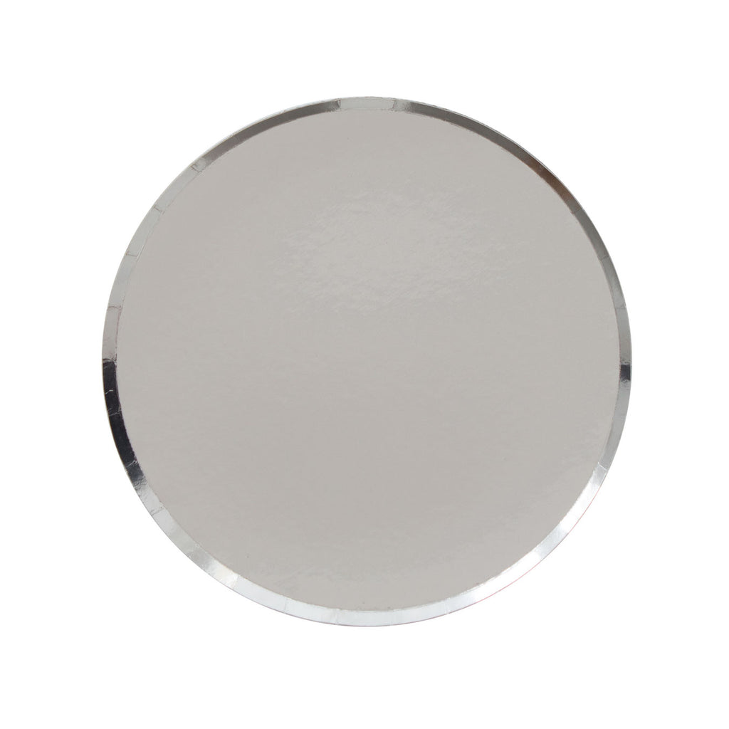 Stunning silver party plates with a delicate rim