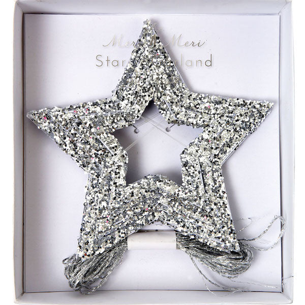 silver star garland in its packaging