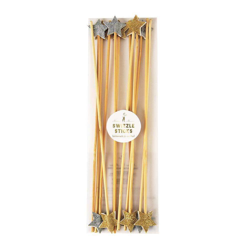 gold and silver Star Swizzle Sticks