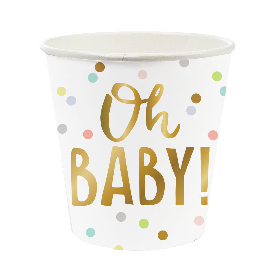 "Mini Baby Shower Cups that say ""Oh Baby!"" in gold foil"