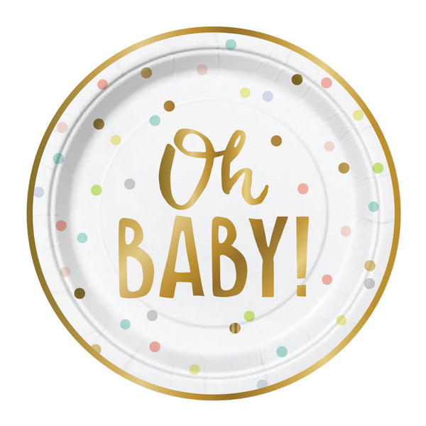 gold foil oh baby paper cake plates