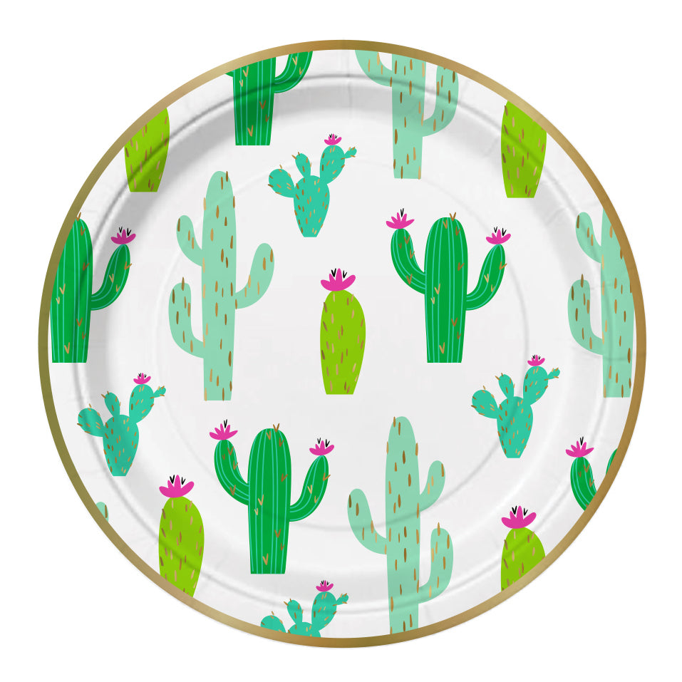 colorful cactus plates embellished in gold foil