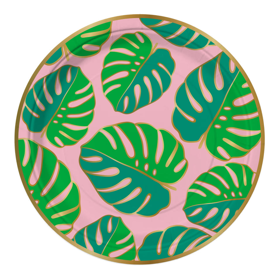 Pink and Green Tropical Party Plates