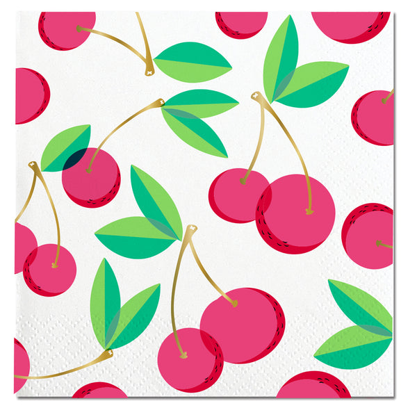 red and gold foil cherry paper party napkins