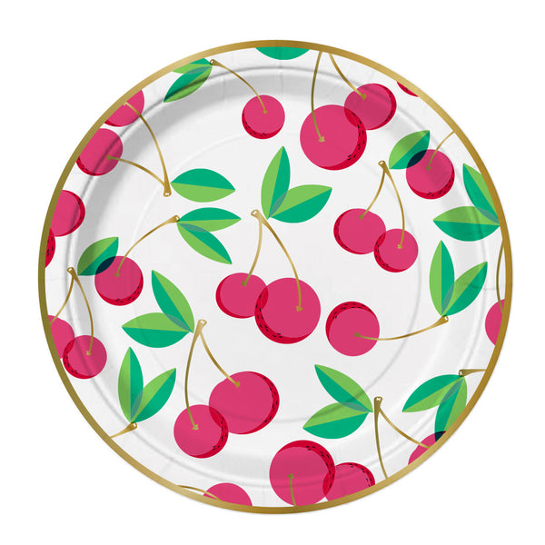 Red and gold foil cherry paper party plates