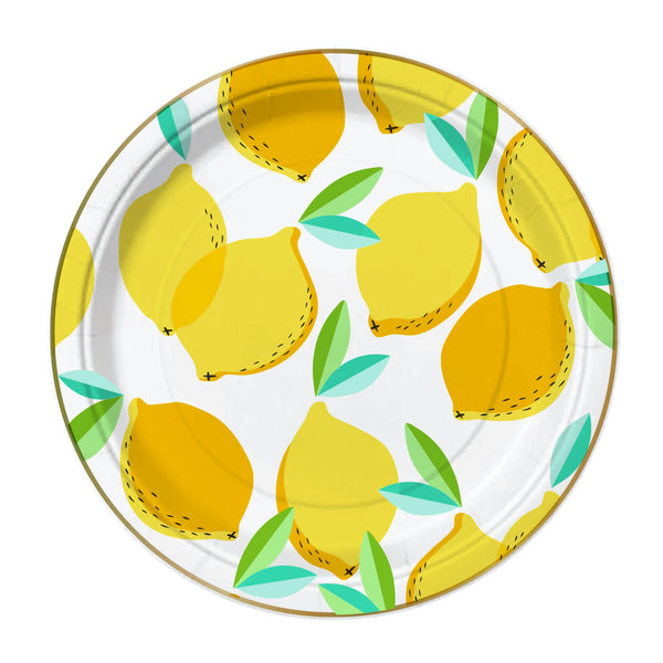 yellow and gold foil lemon paper party plates