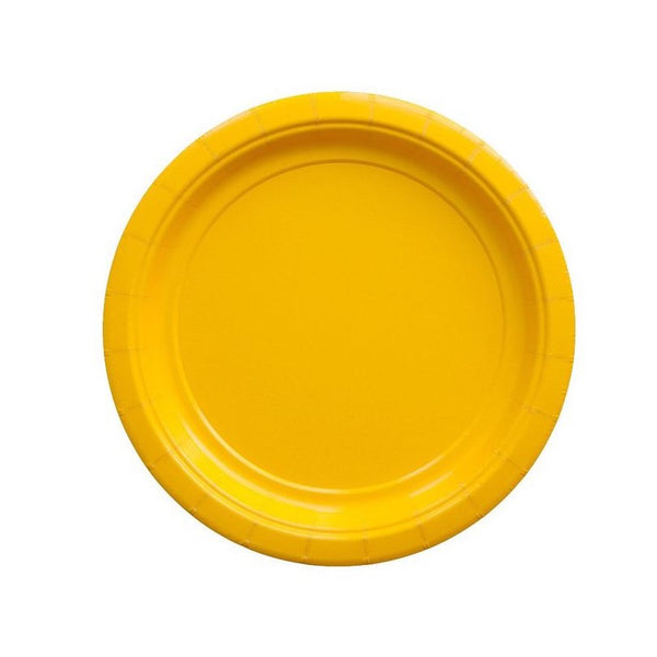 small bright yellow paper party plates