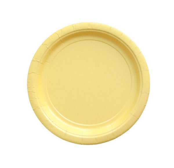 small light yellow paper party plates