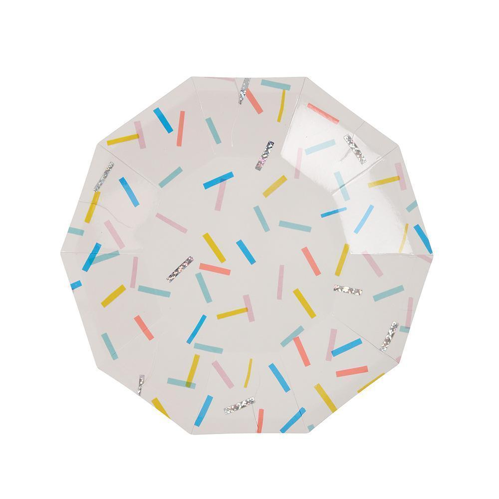 Sprinkle Plates with colorful sprinkles and silver foil accents