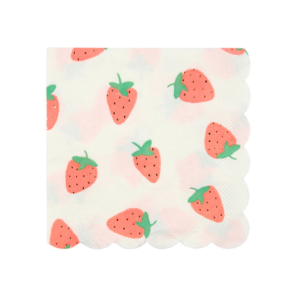 white and red strawberry party napkins