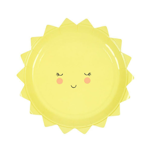 yellow smiling sun party plates