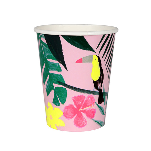 pink and green tropical cups against white backdrop