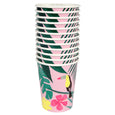 stack of pink and green tropical cups