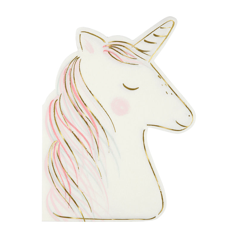 white and gold unicorn napkins against white background