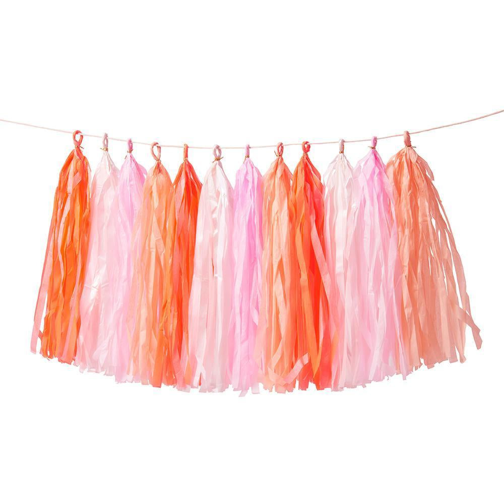 pink and red valentine tassel garland strung together