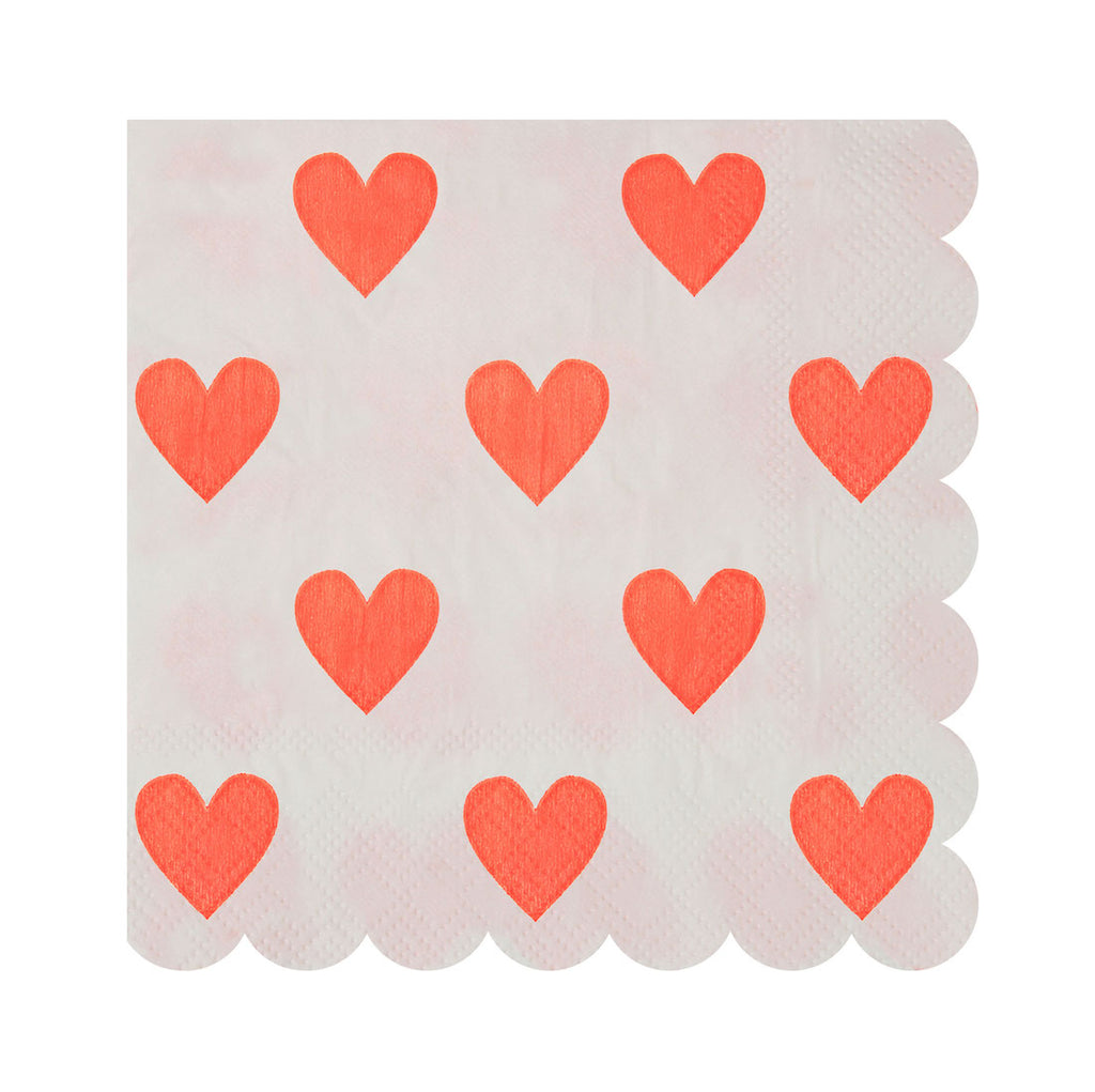 white and red heart napkins