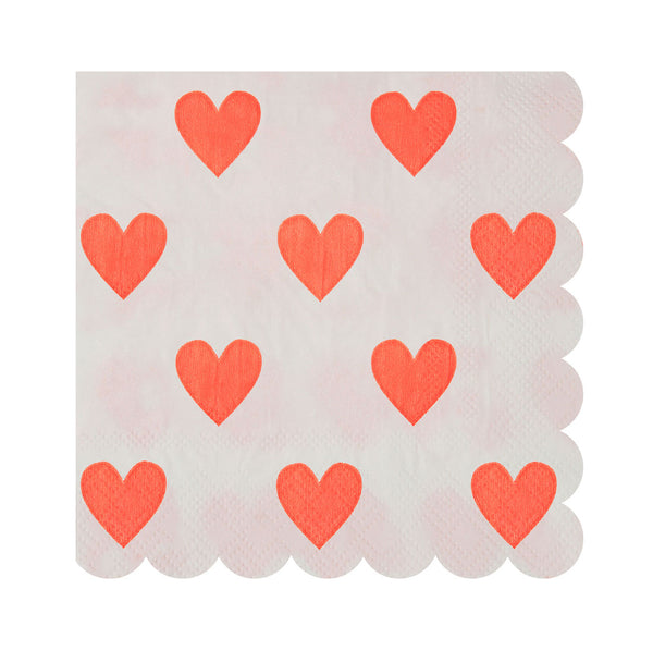 white party napkins with hearts