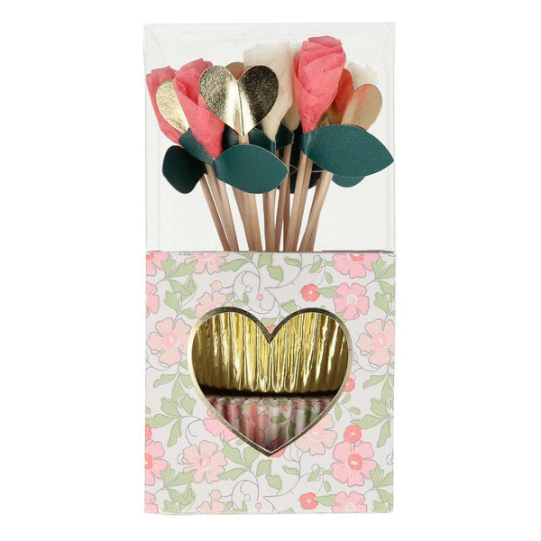 a very lovely cupcake kit with hearts and flowers