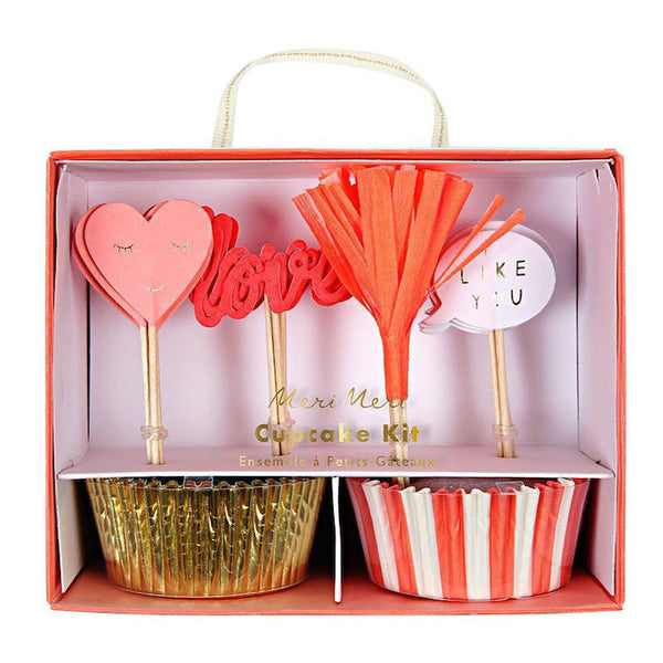 Valentine's cupcake kit with liners and colorful heart toppers