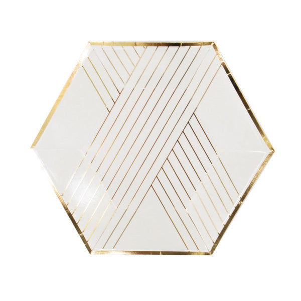 the perfect bridal plates with a white and gold foil design