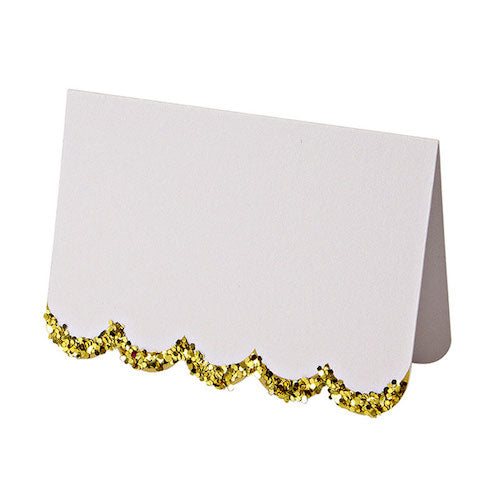 White Place Cards with Gold Glitter Scallops