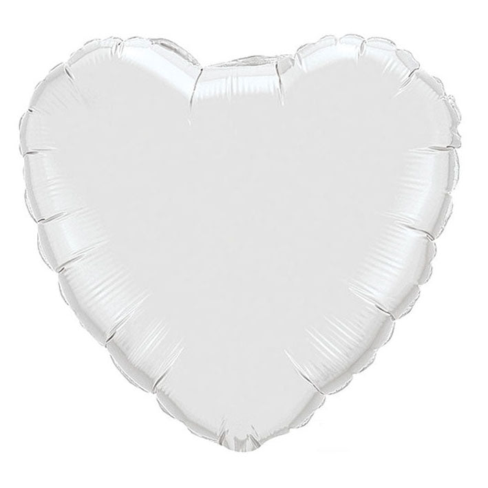 White Heart Balloon Blown up with Helium