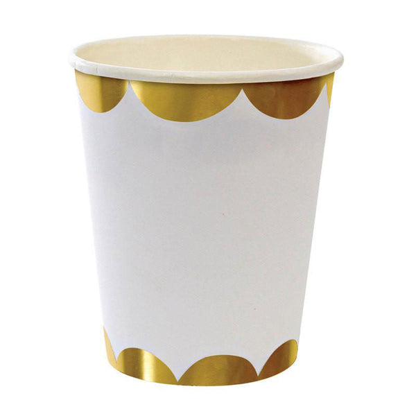 white party cups with gold scallops