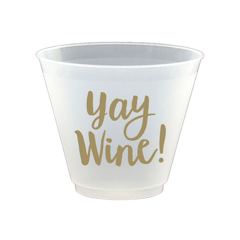 disposable wine cups that say yay wine!
